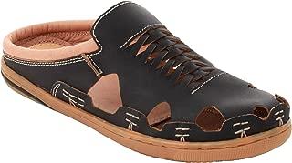 tZaro Genuine Leather RON4108DRBLK Cushioned Sandals