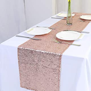 """Zdada Rose Gold Table Runner - 12"""" x 72"""" Rectangle Glitter Sequin Table Runner Sparkly Party Table Runner"""