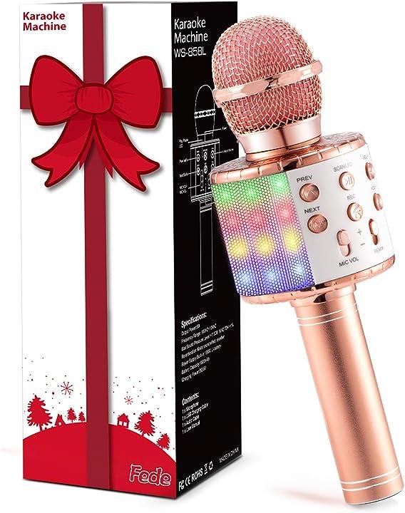Microfono karaoke bluetooth wireless per bambini, karaoke portatile con luci led multicolore per cantare WS858L-RG