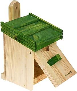 MAZUR International Casa de pájaros de madera para colgar caja de nido para pájaros azules, gorrión, petiros, para nidos e...