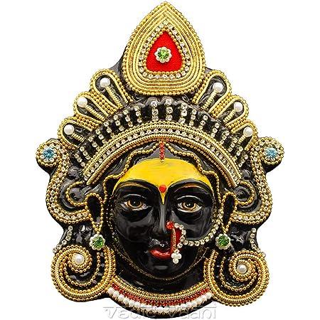 Buy Vedic Vaani Beautiful Decorative Maa Kali Devi Puja Face Mukhota Goddess Maha Kaali Mata Face Mask For Navratri Pooja Temple Entrance Wall Main Door Or For Daily Worship Of Kali Mata Size 1 Online