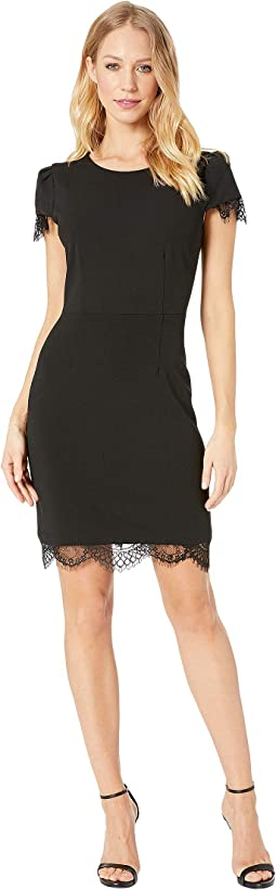 Scuba Crepe Dress w/ Lace Trim