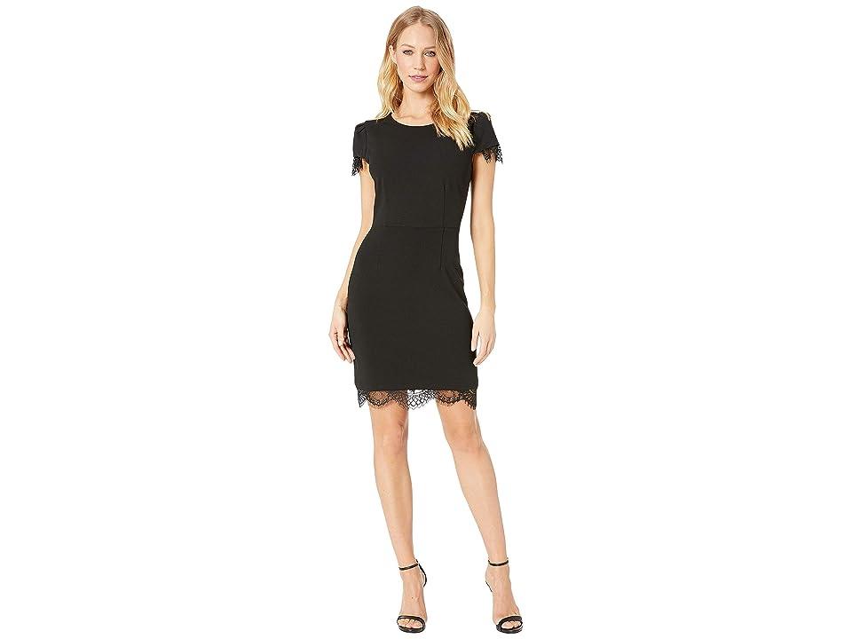 Betsey Johnson Scuba Crepe Dress w/ Lace Trim (Black) Women