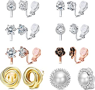 8 Pairs Clip Earrings for Women Set Rose Flower Simulated Pearl Twist Knot Sparkly Cubic Zirconia Crystal Round Non Pierced Clip On Stud Earrings…