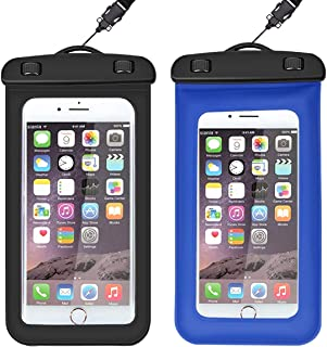 euwanyu Waterproof Phone Case, Watertight Sealed Underwater PVC Sponge Floating Touchscreen Pouch Bag Compatible with iPhone 5s, 6, 6s (Plus), 7 (Plus), 8 (Plus), X(S), Huawei, Samsung (Black + Blue)