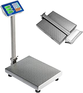 Giantex 660lbs Weight Computing Digital Scale Floor Platform Scale for Weighing Luggage Package Shipping Mailing Postal Scale with Accurate LB/KG Price Calculator, High-Definition Displa (Silver)