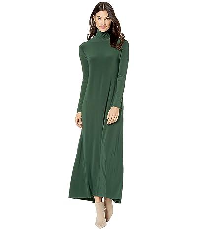 KAMALIKULTURE by Norma Kamali Long Sleeve Turtle Long Swing Dress (Forest Green) Women