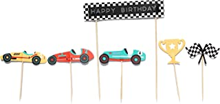 Vintage Race Car- Cupcake, Cake Toppers   11 Pack   Checkered Flags, Trophy   Racing Car Decorations   Birthday   Baby Shower   Race Car Theme   Kids Party Decor   Dessert Topper   Food Pick