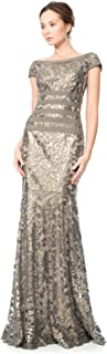 Tadashi Shoji Women's Sequin Lace-Cap SLV-Waist Ribbon Detail Gown