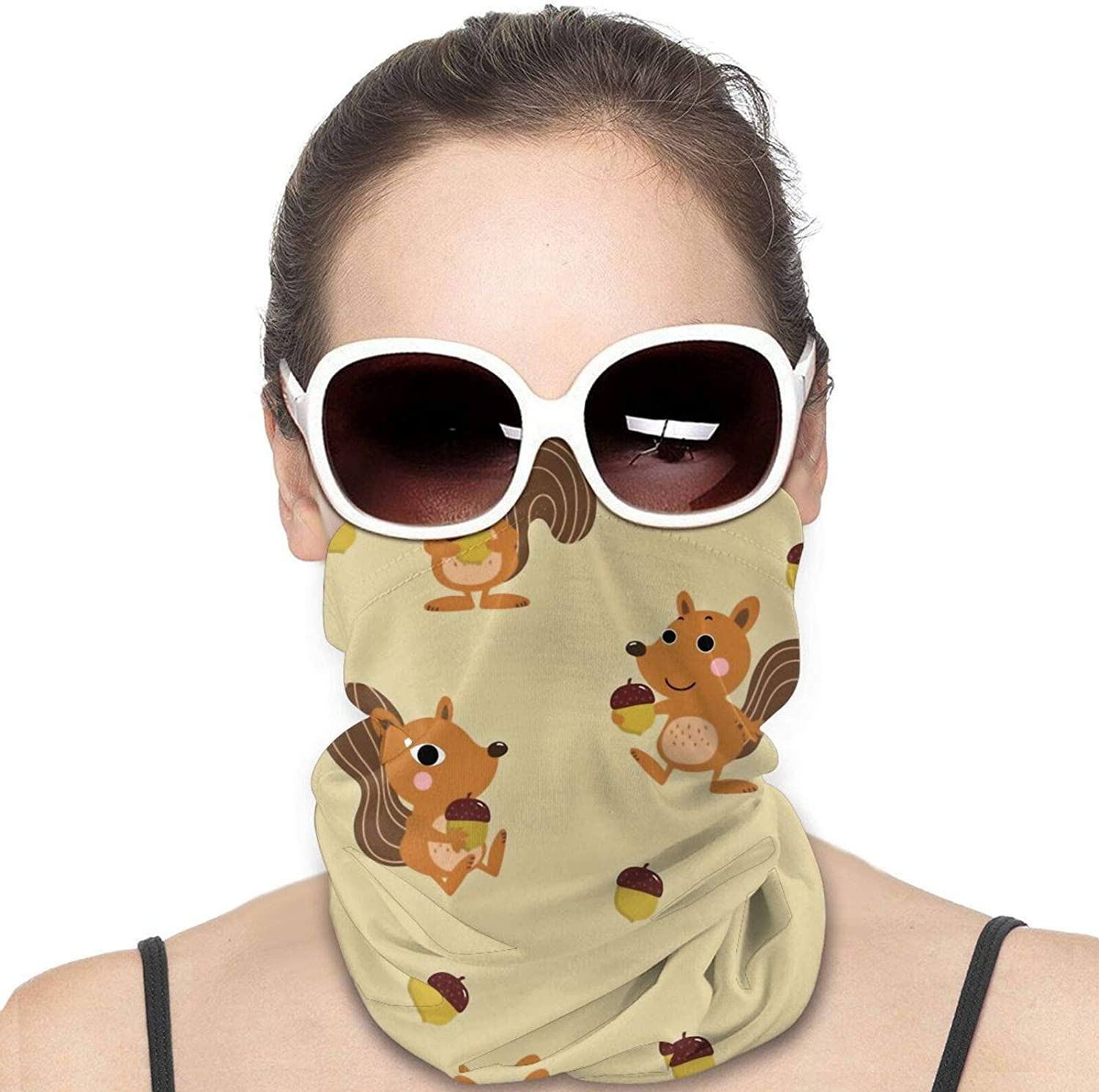 Squirrel with Nuts Neck Gaiter Windproof Face Cover Balaclava Outdoors Magic Scarf Headband for Men Women Motorcycling Fishing Running Climbing