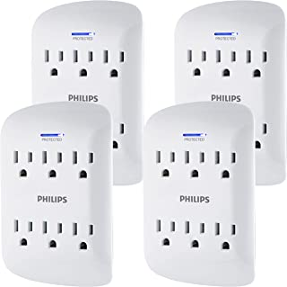 PHILIPS 6-Outlet Surge Protector Tap, 4 Pack, 900 Joules, Space Saving Design, Protection..