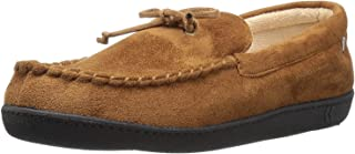 Isotoner Men's Whipstitch Gel Infused Memory Foam Moccasin, Cognac, XX-Large / 13-14 M US