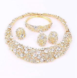 85cb8510a Kidly Conjuntos de Joyas de Perlas africanas de Boda Conjuntos de Collar de Cristal  Conjunto de