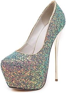 JQfashion JQfashion Women's Round Toe Stiletto High Heel Platform 16cm Suede Shallow Gold Heel for Party Nightclub Court S...