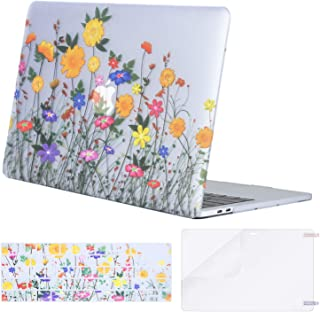 MOSISO MacBook Pro 13 inch Case 2019 2018 2017 2016 Release A2159 A1989 A1706 A1708, Plastic Flower Pattern Hard Case&Keyboard Cover&Screen Protector Compatible with MacBook Pro 13, Sunflower