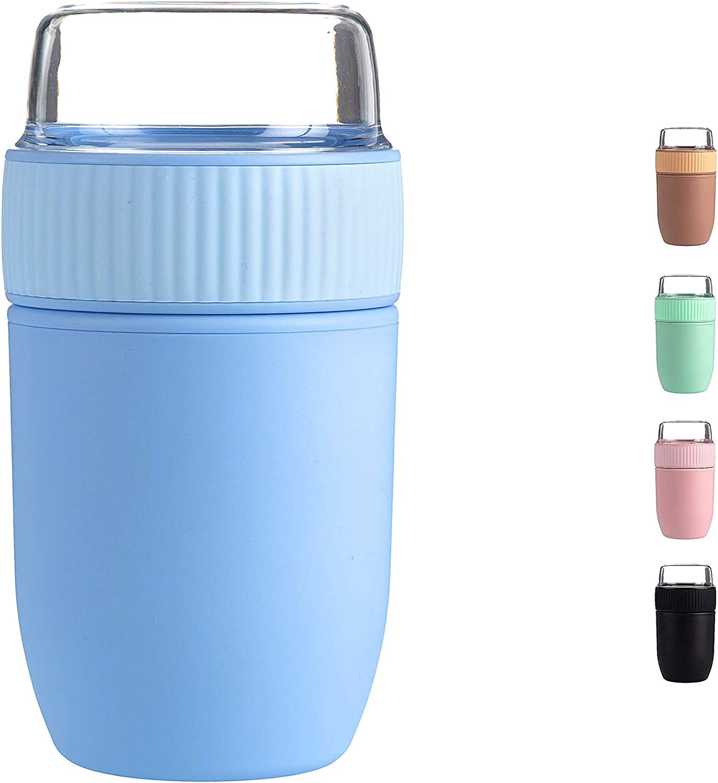 Coninx Porta Yogur - Taza para Llevar - Vaso Cereales - Bol para Cereales sin BPA con Tapa - Vaso de Cereales apto para Adultos y Niños - 640 ml de Capacidad (Azul
