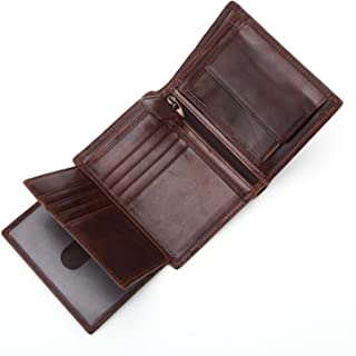 Leather Bag Mens Men's Wallet Short Leather Versatility Vintage Zip Coin Wallet Vertical Layered Leather Three-Fold Wallet High Capacity (Color : Brown, Size : S)