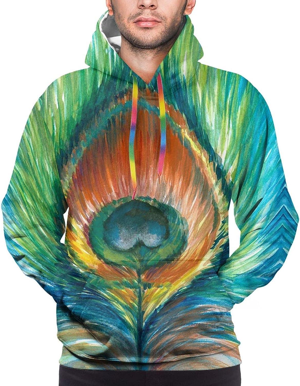 Hoodie For Teens Boys Girls Peacock Feather Oil Painting 3d Printed Hooded Sweatshirt