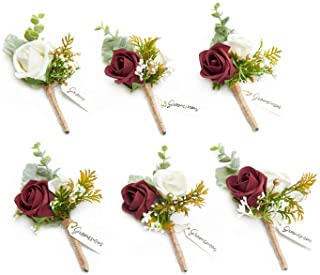 Ling's moment Burgundy Boutonniere for Men Wedding with Pins, Set of 6, Groom and Best Man Boutonniere for Wedding Ceremon...