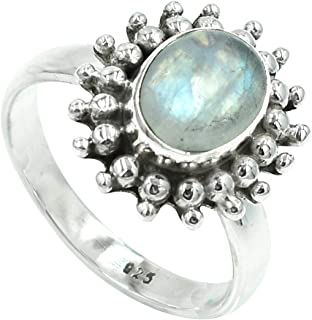 Silvesto India Natural White Moonstone Dainty Gemstone 925 Sterling Silver Handmade Women Fashion Ring