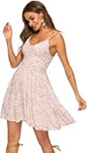 SheIn Women's High Waist Fit and Flare Vneck Floral Cami Dress Spaghetti Strap