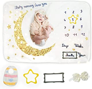 Doopro Baby Milestone Blankets Girls Boys - Personalized Growth Chart Unisex Twins Monthly Essentials Star Baby Gift for N...