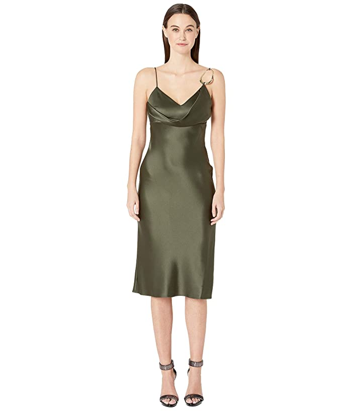 Cushnie Sleeveless Pencil Dress with Front Cowl and Dripping (Dark Olive) Women