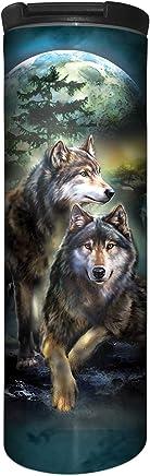 blue 17 oz The Mountain Mens Wolf Heart Barista Travel Coffee Mug