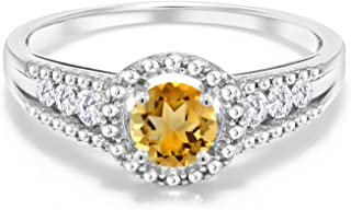 0.97 Ct Round Yellow Citrine White Created Sapphire 925 Sterling Silver Ring