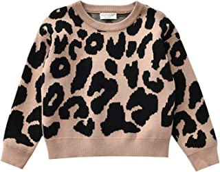 Fashion Kids Toddler Baby Girl Leopard Knit Sweater Casual Pullover Tops Fall Winter Warm Clothes