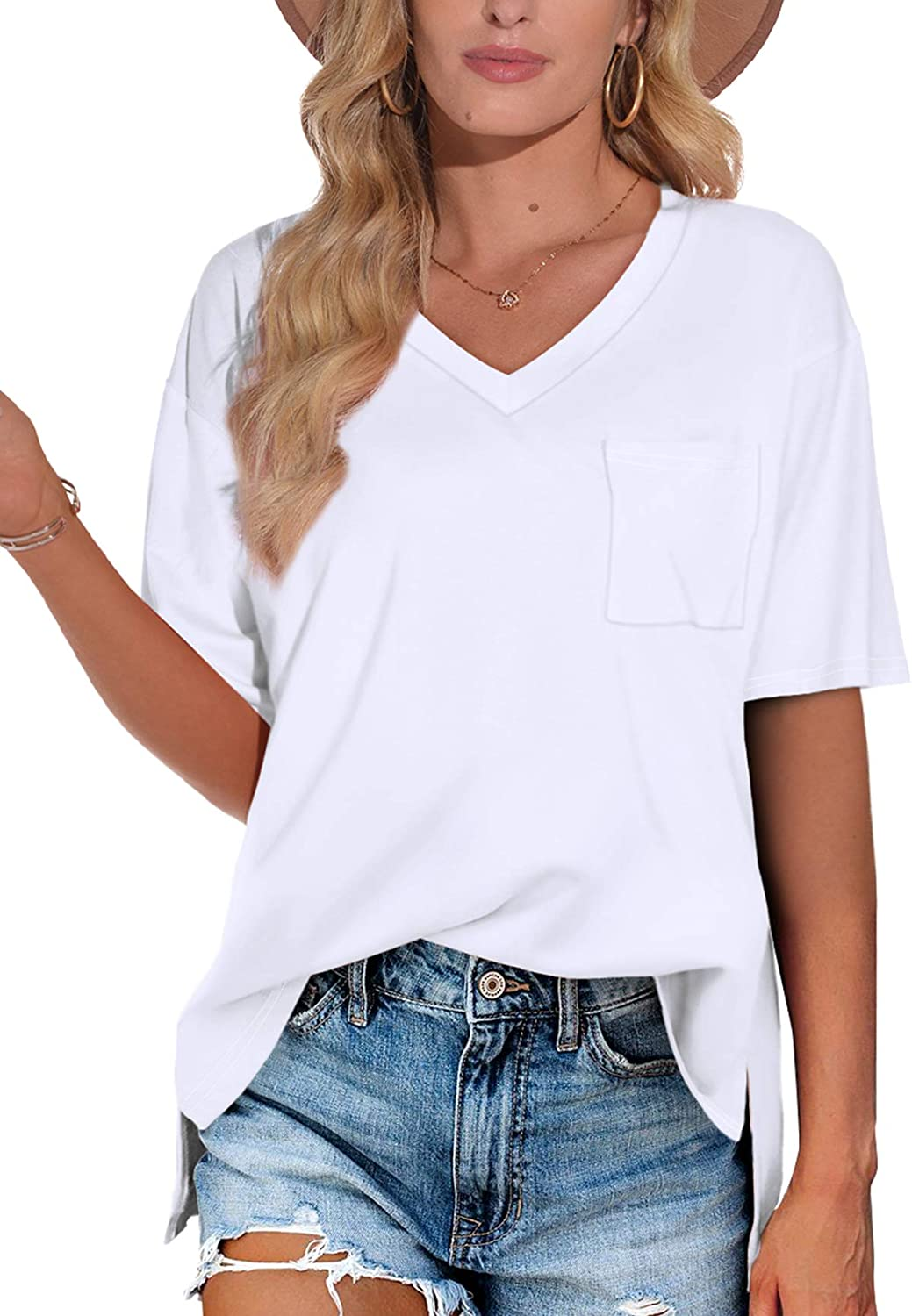 XIEERDUO Women's Summer T Shirts Max 56% OFF Short Cute safety V Sleeve Neck Pocket