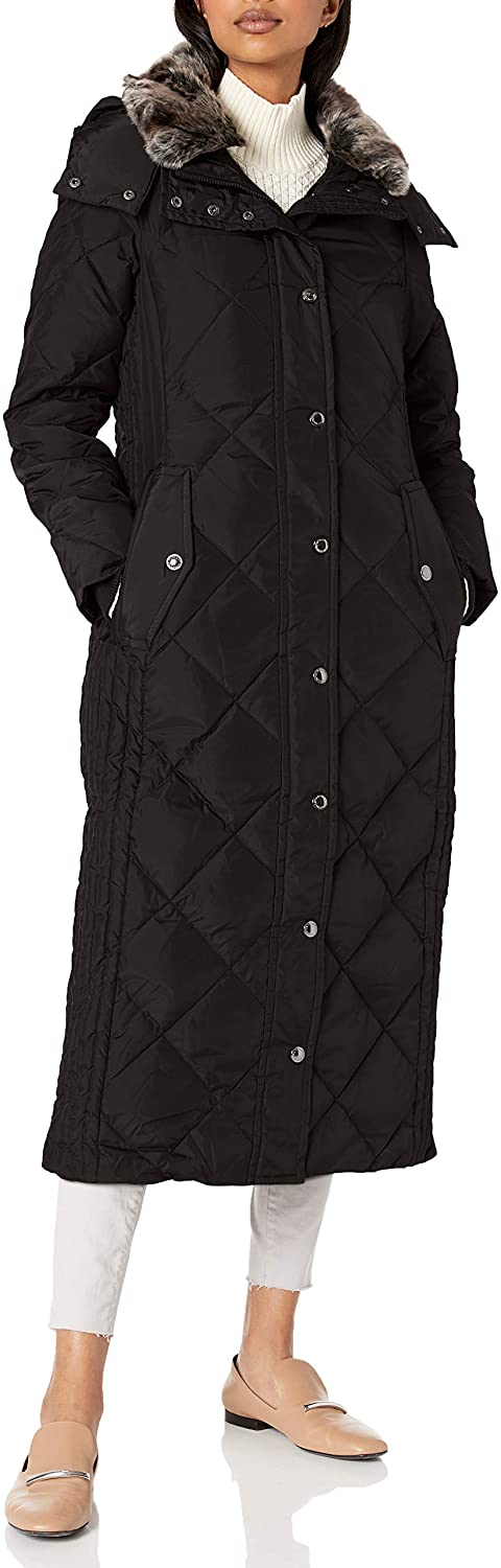 LONDON FOG Women's Diamond Down Quilting with Removable Hood