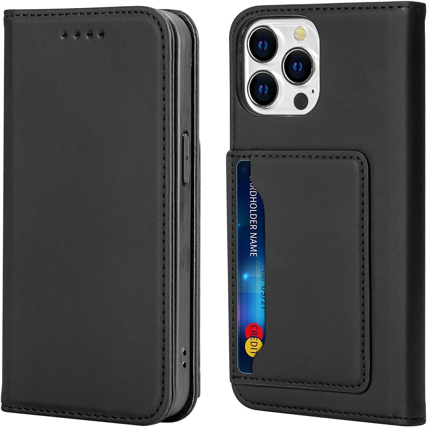 WATACHE Compatible with iPhone 13 Pro Case,Wallet Card Holder Slot Kickstand Slim Fit Premium PU Leather Flip Folio Phone Case Cover for iPhone 13 Pro (Black)