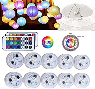 10Pack Paper Lantern Lights Multicolored Mini Hanging with Remote Control Battery Operated RGB LED Submersible Waterproof Light for Spring Festival Lanterns Party Decoration