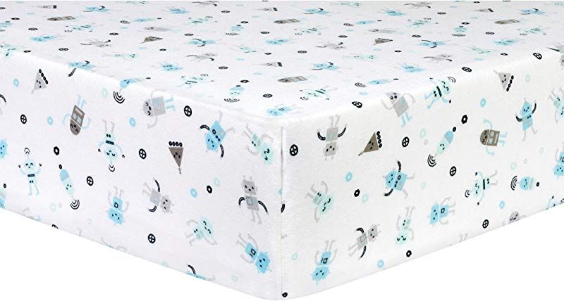 Trend Lab Robots Deluxe Flannel Fitted Crib Sheet