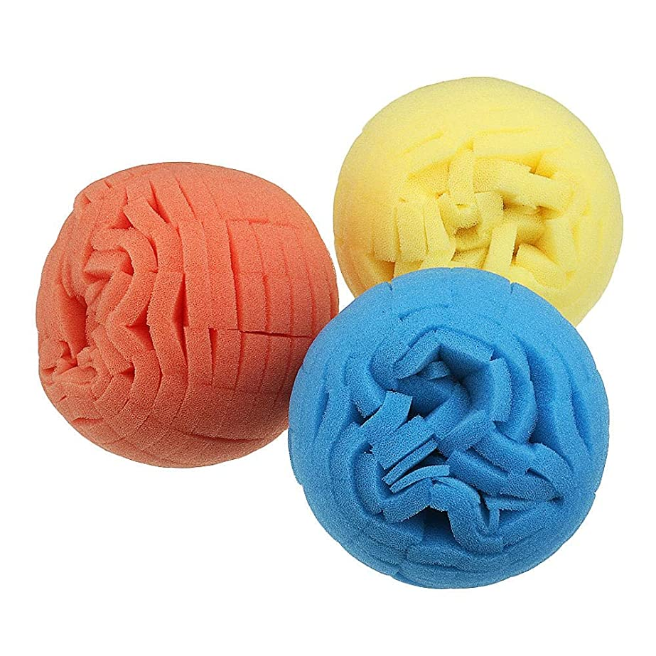 カメ約形成電動工具アクセサリー 電気ドリルホイールワックスがけシャイニングスポンジボールの仕上げのための80mmPad試合ディスクスチールリングの詳細ポリッシュボール (色 : Blue)