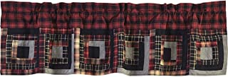 VHC Brands Rustic & Lodge Kitchen Window Curtains-Cumberland Patchwork Valance, 16x60, Chili Pepper Red