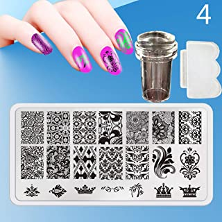 Zmond - New 12X6cm 44 Style Nail Stamping Plates Set Made Stencils Lace Flower DIY Nail Art Templates+Transparent Stamper Stamp Scraper [ 4 ]
