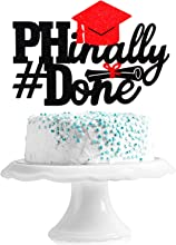 PHinally Done 2021 Graduation Cake Topper - Congrats Class Of 2021 Black Glitter Grad Cap Diploma Décor - Finally Done Ph.D Graduate Party Decoration