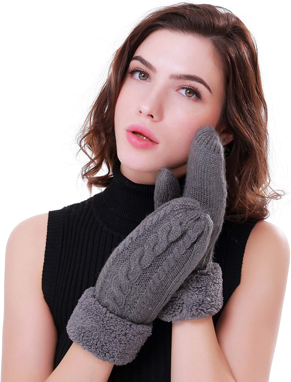 Women's Winter Gloves Warm Lining Mittens- Cozy Wool Knit Thick Gloves Novelty Mittens Winter Cold Weather Accessories