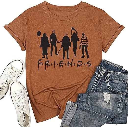 Halloween Friends T-Shirt Women Funny Halloween Party Hocus Pocus Shirt Classic Halloween Movie Short Sleeve Tee Tops