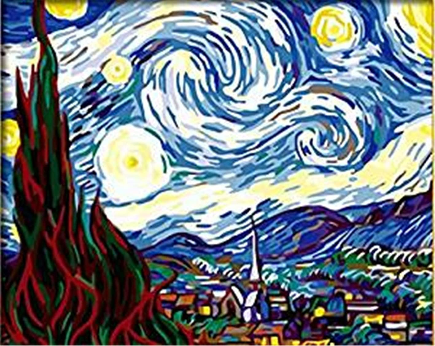 YEESAM Art New DIY Paint by Number Kits for Adults Kids Beginner - Worldwide Famous Oil Painting by Van Gogh 16x20 inch Linen Canvas - Stress Less Number Painting Gifts (with Frame, The Starry Night) kjemsksnpsa585