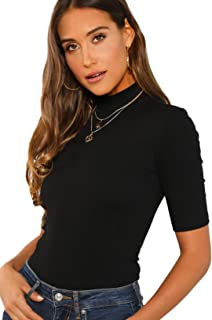 SheIn Women's Mock Neck Half Sleeve Slim Fit Ribbed Knit Tee T-Shirts