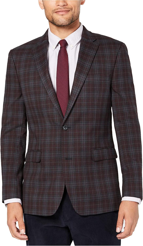 Tommy Hilfiger Mens Plaid Two Button Blazer Jacket