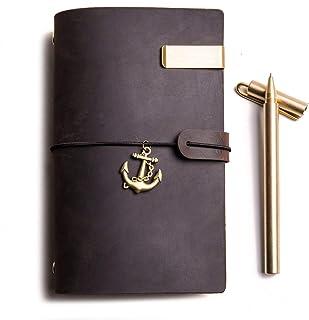 トラベラーズノート+ 铜ペン 、本物のレザートラベルジャーナル 6穴 、ルーズリーフバインディング (ダークブラウン, A6)