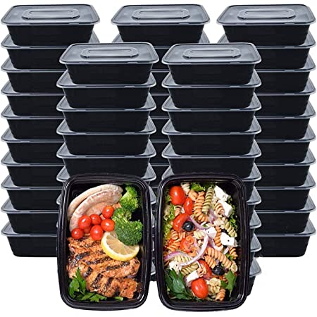 Meal Prep Containers, 50 Pack Food Storage Containers with Lids, Disposable Bento Box Reusable Plastic Lunch Box Kitchen Food Take-Out Box Microwave/Dishwasher/Freezer Safe (750ML/ 26 OZ)