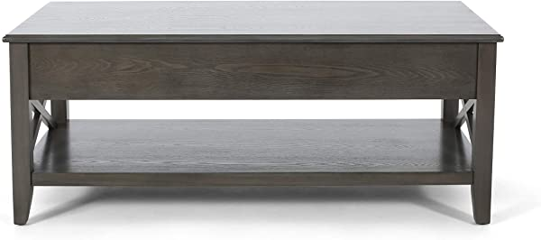 Great Deal Furniture 308094 Laurel Luke Farmhouse Faux Wood Lift Top Coffee Table Gray