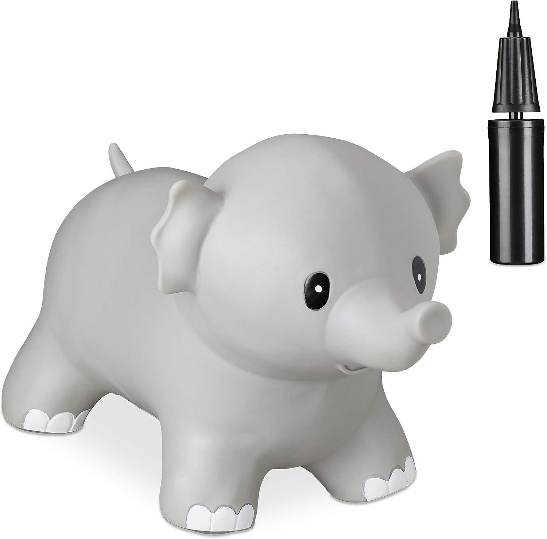 H/üpfspielzeug Hopser BPA frei grau f/ür Kinder inklusive Luftpumpe Relaxdays H/üpftier Elefant Sprungtier bis 100 kg