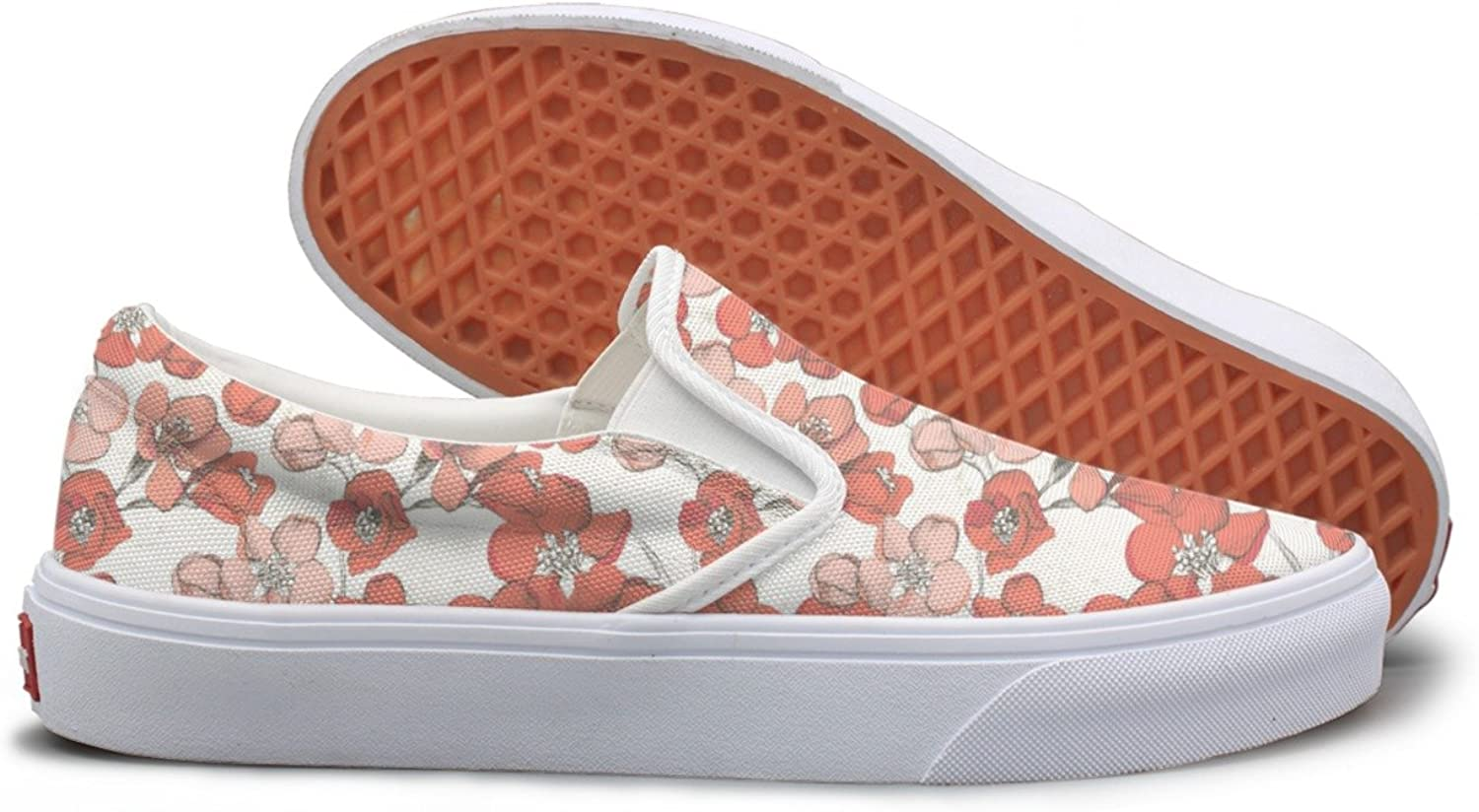 Spring Floral Hand Drawn Canvas shoes Women Slip On