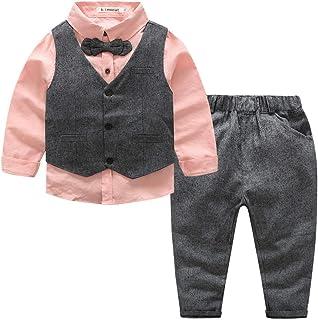 Kimocat - Traje Conjunto de Bebés Niños 3 Piezas Elegante para Bautizo Ceremonia Traje Formal para Recién Nacido Gentihomb...